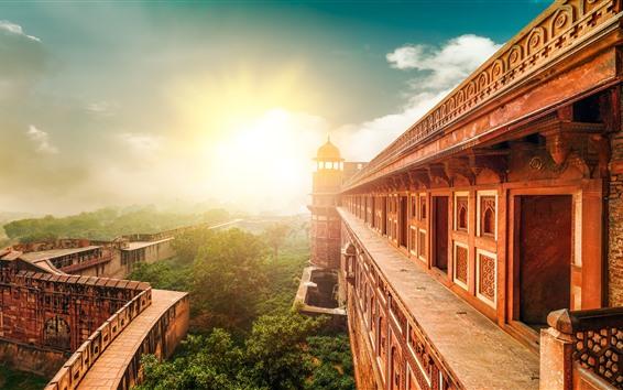 배경 화면 인도, 사원, 건물, 태양 광선