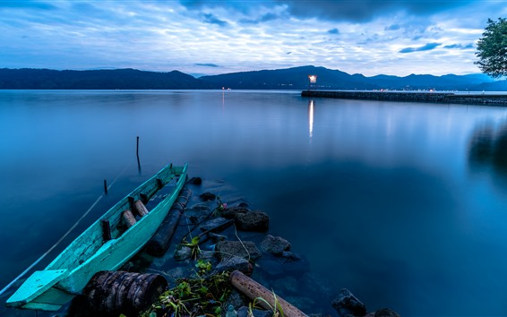 Fond d'écran Indonésie, Sumatra, lac Toba, bateau, crépuscule