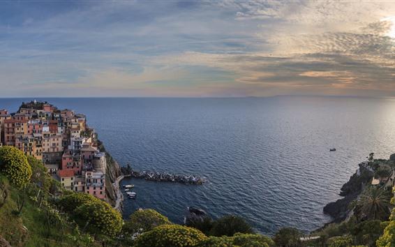 Papéis de Parede Itália, mar ligurian, Manarola, Costa, casas, nuvens, Crepúsculo
