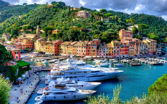 Wallpaper Italy, Portofino, harbour, city, yachts, trees