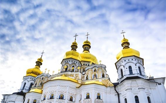Wallpaper Kiev Pechersk Lavra, Ukraine, dome, sky, clouds