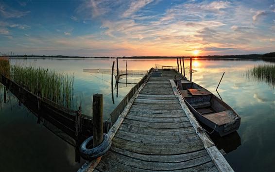 Wallpaper Lake, boat, pier, sunset