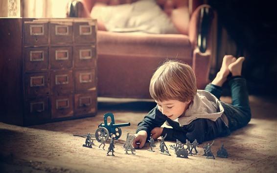 Wallpaper Little boy play toys, child