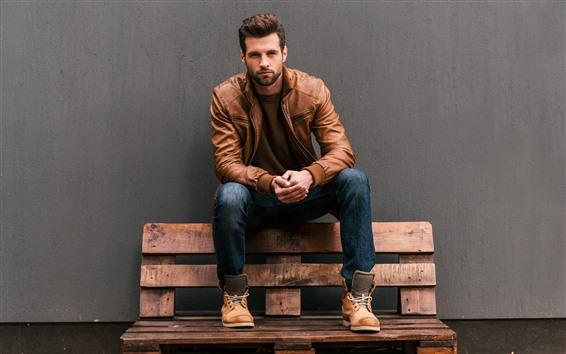 Fond d'écran Homme, veste, banc, mur