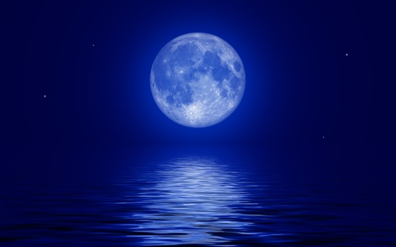 Wallpaper Moon Blue Sea Moonlight Night 5120x2880 Uhd 5k Picture Image