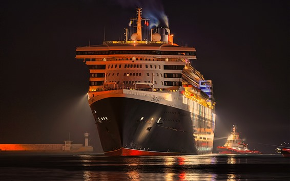 Fondos de pantalla Noche, crucero, vista frontal, muelle