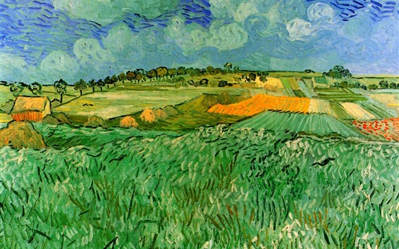 Wallpaper Oil painting, fields, countryside, Vincent van Gogh