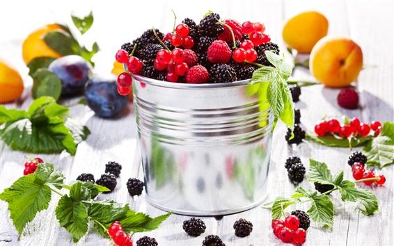 Wallpaper One bucket of berries, blackberries, raspberries