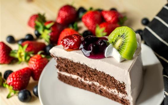 Fond d'écran Un morceau de gâteau, tranche de fruit, kiwi, fraise