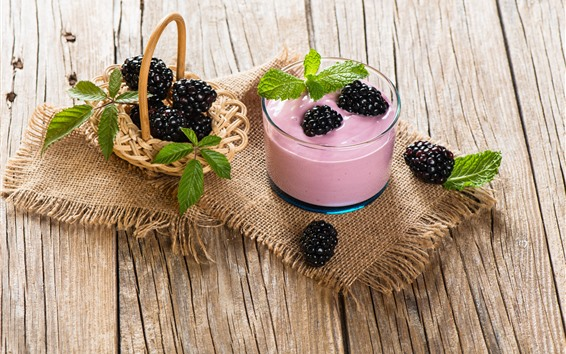 Papéis de Parede Smoothies cor-de-rosa, amoras pretas, hortelã