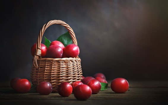 Wallpaper Red plums, delicious fruit, basket