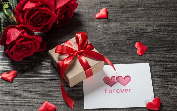 Wallpaper Red roses, gift, love hearts, romantic