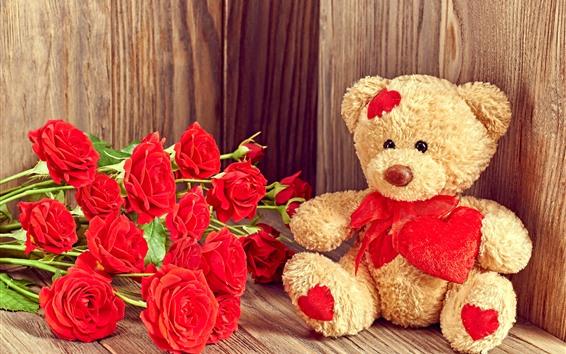 Papéis de Parede Rosas vermelhas, peluche, românticas