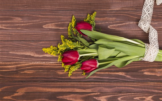 Wallpaper Red tulips, bouquet, wood board