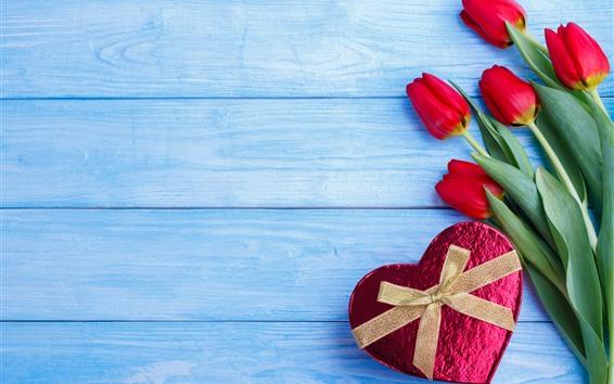Wallpaper Red tulips, love heart gift, blue wood board