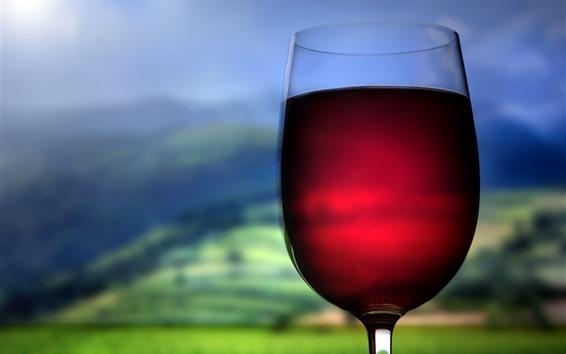 Papéis de Parede Vinho tinto, copo de vidro, fundo nebuloso