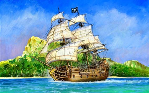 Wallpaper Sail ship, Pirate, sea, island, art picture