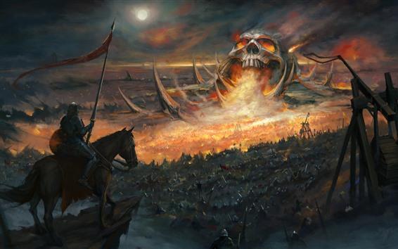 Обои Череп, война, воин, художественная картина