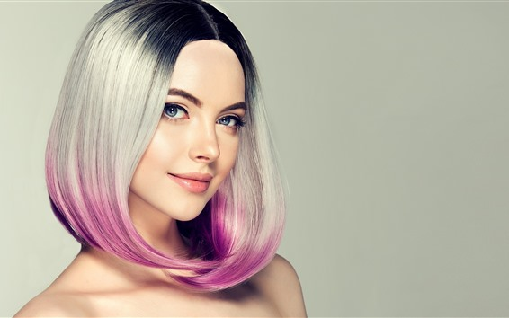 Papéis de Parede Sorria fashion girl, penteado, cores