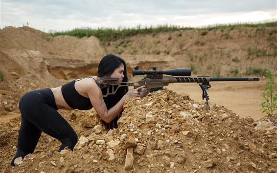 Обои Снайпер, оружие, винтовка, девушка, поза