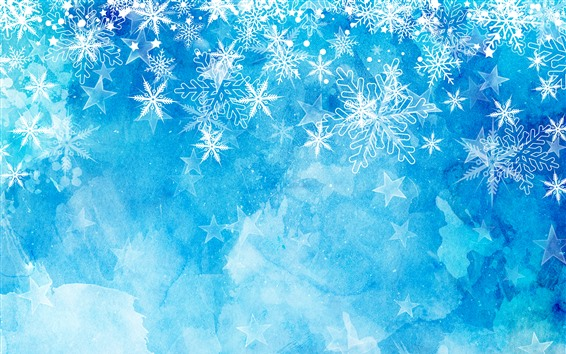 Wallpaper Snowflakes, blue background, Christmas theme