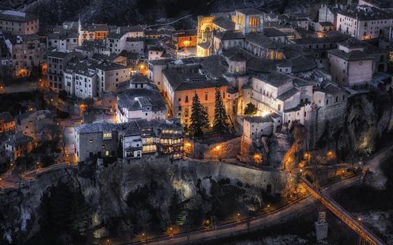 Papéis de Parede Espanha, castilla la mancha, cidade, noturna, casas, luzes