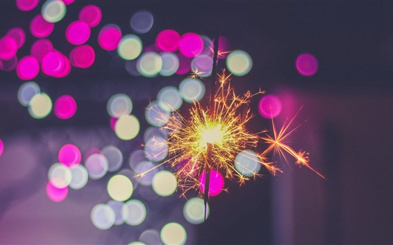 Wallpaper Sparks, night, colorful light circles