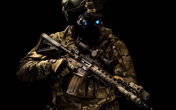 Обои Спецназ, шлем, штурмовая винтовка
