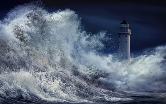 Wallpaper Storm, sea, water splash, lighthouse