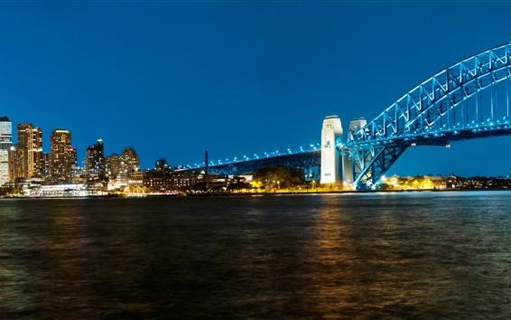 Papéis de Parede Sydney, ponte, mar, noite, luzes, cidade, Austrália