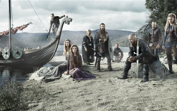 Papéis de Parede Os Vikings, série de TV, guerreiros, barco