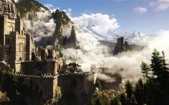 Обои Ведьмак 3, замок, деревья, лес, горы, туман