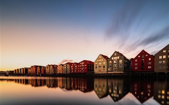 Papéis de Parede Trondheim, Noruega, casas, rio, crepúsculo