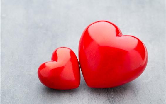 Fond d'écran Deux coeurs rouges d'amour, grands et petits