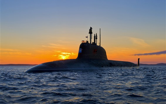 Wallpaper Weapon, submarine, sea, waves, sunset