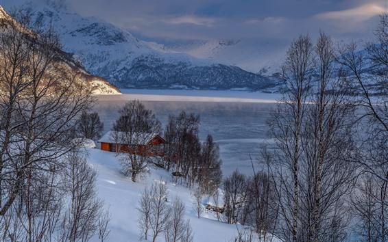 Papéis de Parede Inverno, montanhas, árvores, neve, casa, lago