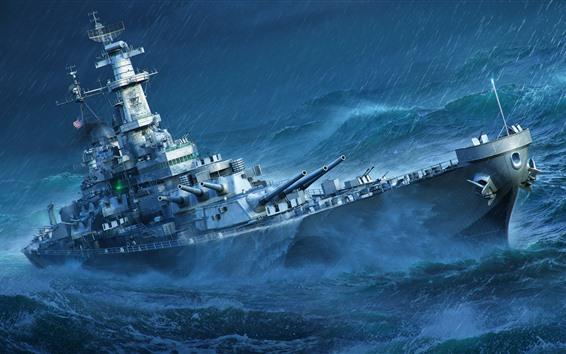 Fondos de pantalla Mundo de buques de guerra, mar, acorazado