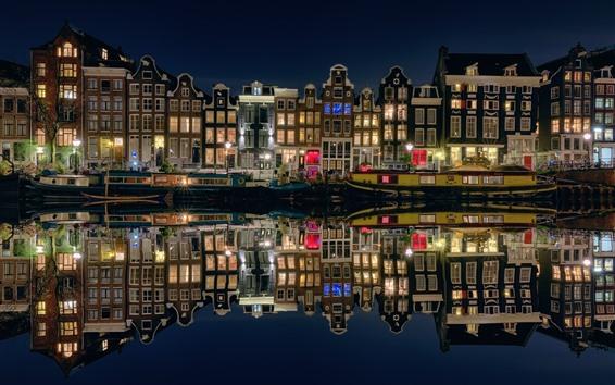 Wallpaper Amsterdam, Netherlands, night city, houses, boats, river, lights