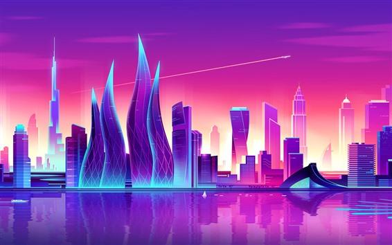Обои Art векторное изображение, город, фиолетовый стиль, небоскребы, дубай