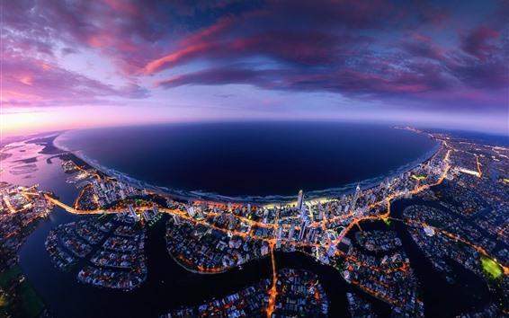 Обои Австралия, Квинсленд, город, небоскребы, море, ночь, огни