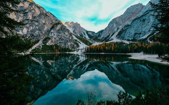 Обои Национальный парк Банф, Канада, деревья, озеро, вода отражение