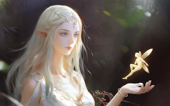 Wallpaper Beautiful fantasy girl, elf, art picture