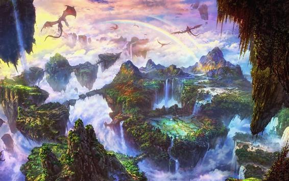 Fond d'écran Beau monde fantastique, arc en ciel, dragon, montagnes, cascade