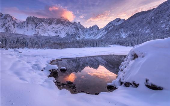 배경 화면 아름 다운 겨울 자연 풍경, 눈, 호수, 산, 황혼