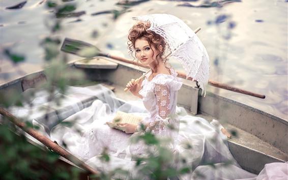 壁紙 美しい少女、白いスカート、傘、ボート、本