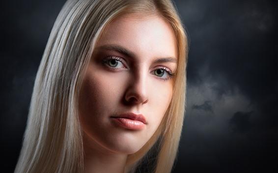 Papéis de Parede Menina loira, cabelos longos, rosto