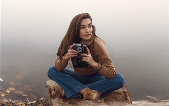 배경 화면 갈색 머리 소녀, 카메라, 스웨터