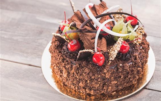 Papéis de Parede Bolo De Chocolate, Cereja