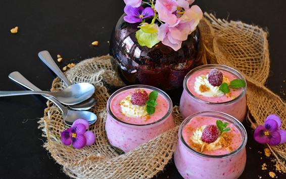 Обои Коктейль, вкусные напитки, розовый, цветы