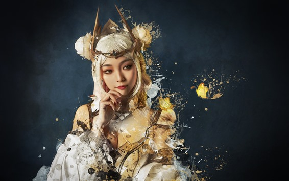 Wallpaper Cosplay girl, white hair, creative picture